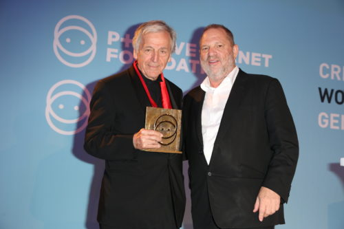 Costa-Gavras Harvey Weinstein attending the Semaine du Cinema Positive by Positive Planet diner during the 70th Annual Cannes Film Festival in Cannes, southern France on May 24, 2017. Photo by Jerome Domine/ABACAPRESS.COM